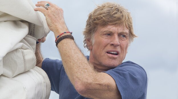 In All Is Lost, Robert Redford plays an unnamed sailor, stranded at sea on a badly damaged yacht.