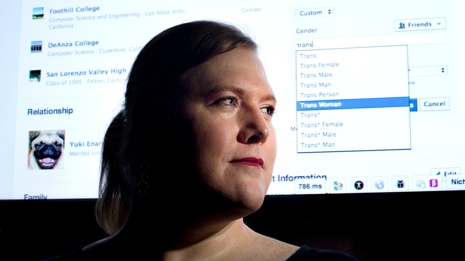 "Facebook software engineer Brielle Harrison demonstrates the website's expanded options for gender identification at her company's Menlo Park, Calif., headquarters. Harrison, who helped engineer the project, plans to switch her identifier to ""Trans Woman."""
