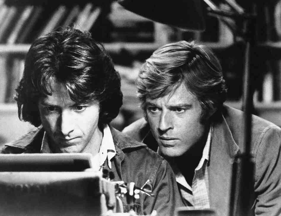 In the 1976 film of All the President's Men, Dustin Hoffman and Redford played the Washington Post reporters who uncovered the Watergate scandal.