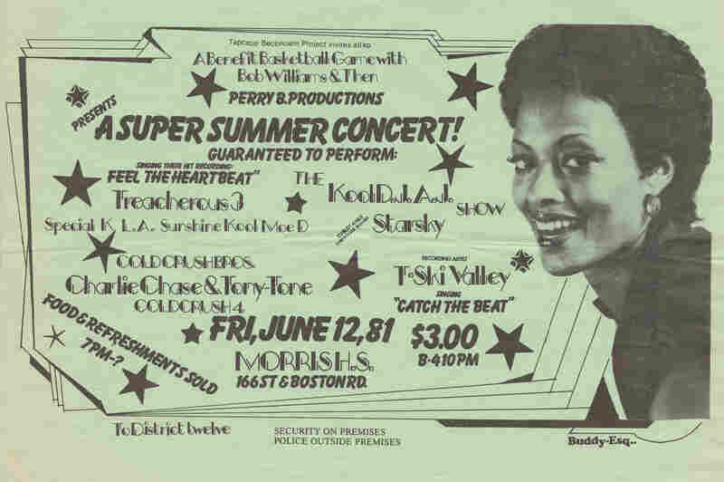 Buddy Esquire was a prolific handbill artist in hip-hop's early days in the South Bronx. This and the following slides are examples of his work — he taught