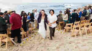 Kelly Mottershead and Louie Okamoto held a beach party last October for their wedding ceremony in Carmel, Calif.