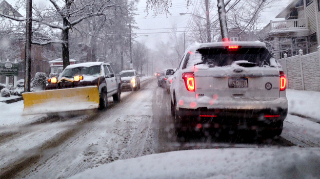 Traffic on Staten Island during a winter storm earlier this month. New York is among the states affected by a shortage of rock salt. (Staten Island Advance /Landov)
