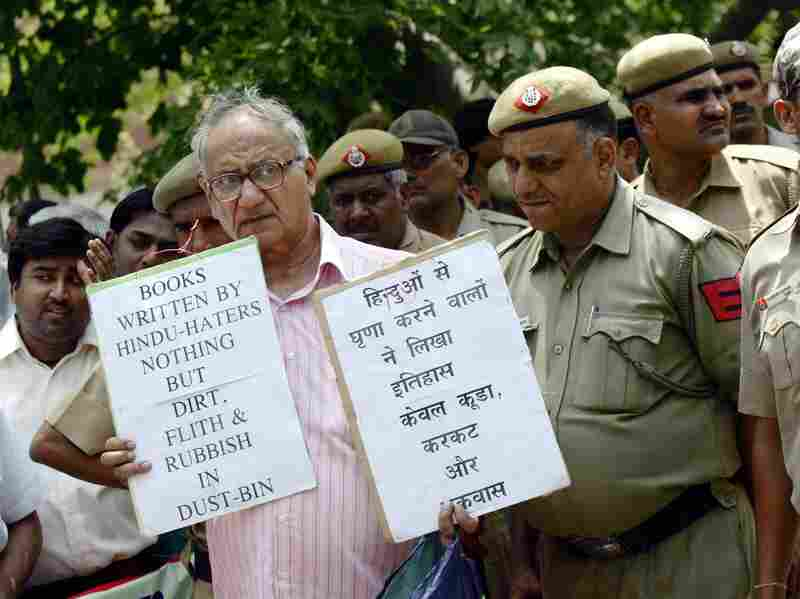 Indian activists from the student wing of Hindu nationalist Bharatiya Janata Party protest near the U.S. Embassy in New Delhi on May 25, 2010, against Wendy Doniger's The Hindus. Penguin Books, India, said this week that it would withdraw the book and pulp it.