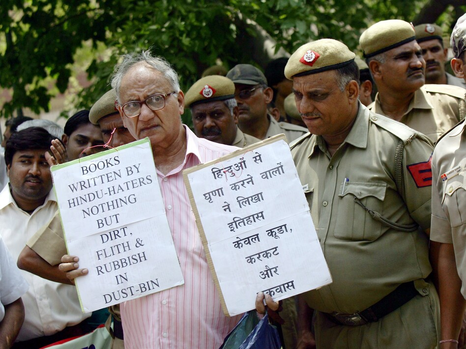 Indian activists from the student wing of Hindu nationalist Bharatiya Janata Party protest near the U.S. Embassy in New Delhi on May 25, 2010, against Wendy Doniger's <em>The Hindus. </em>Penguin Books, India, said this week that it would withdraw the book and pulp it.