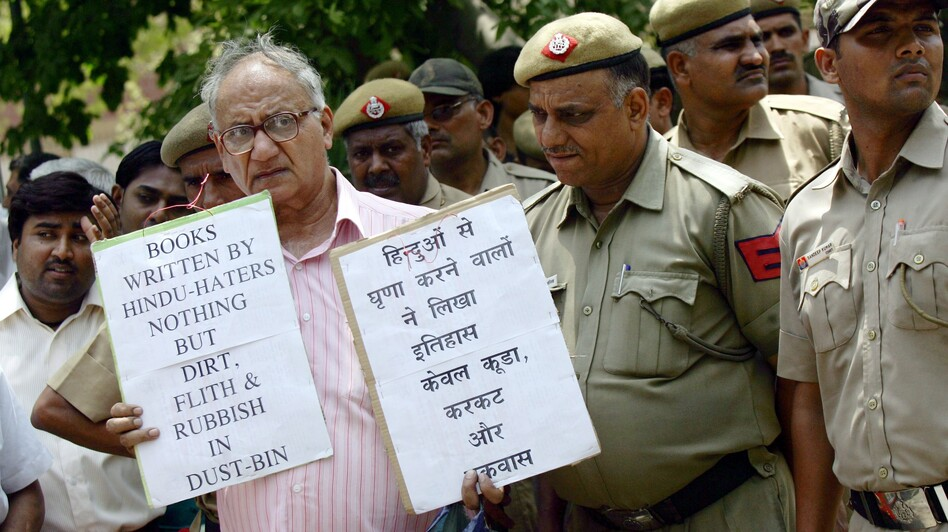 Indian activists from the student wing of Hindu nationalist Bharatiya Janata Party protest near the U.S. Embassy in New Delhi on May 25, 2010, against Wendy Doniger's The Hindus. Penguin Books, India, said this week that it would withdraw the book and pulp it. (EPA/Landov)
