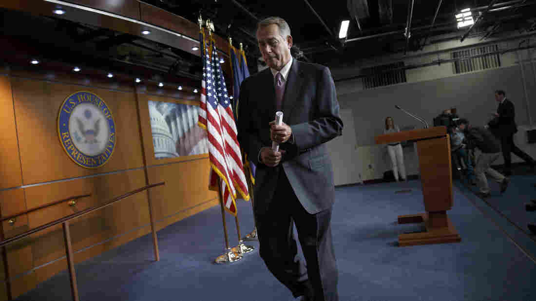 House Speaker John Boehner leaves a news conference on Capitol Hill earlier this month.