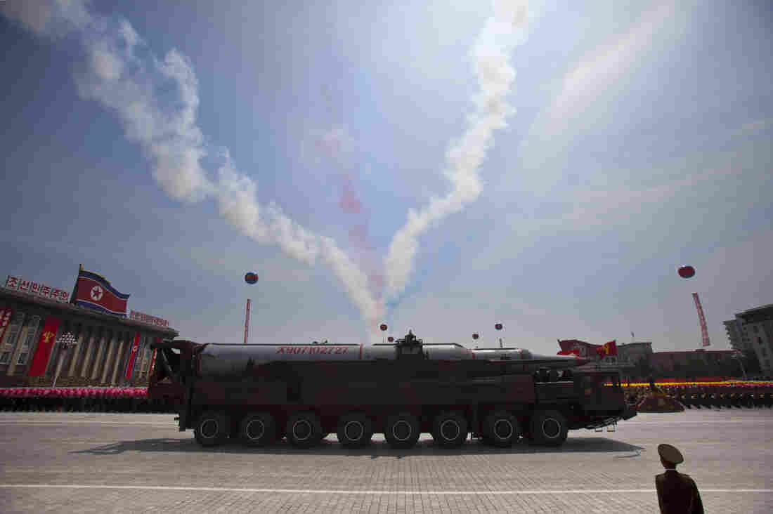 A North Korean KN-08 intercontinental ballistic missile rolls past in a military parade in Pyongyang in July to mark the 60th anniversary of the Korean War armistice. A team of U.S. researchers recently found the buildings where the North Korean military is believed to be assembling the launchers.