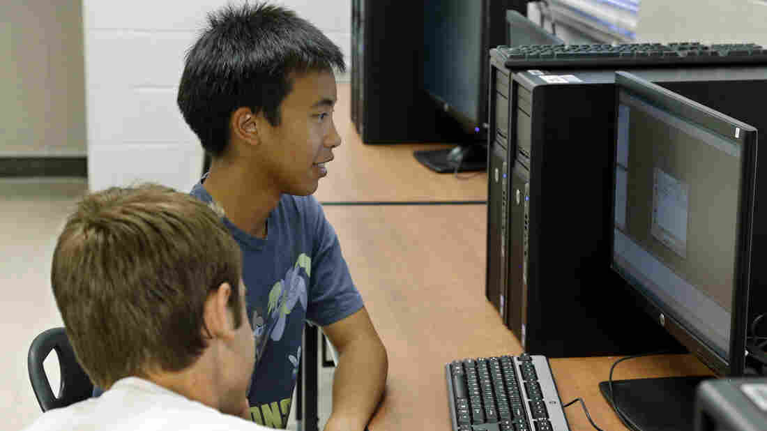 Alex Tu, an advanced placement student, takes a computer science class in Midwest City, Okla. There's been a sharp decline in the number of computer science classes offered in U.S. secondary schools.