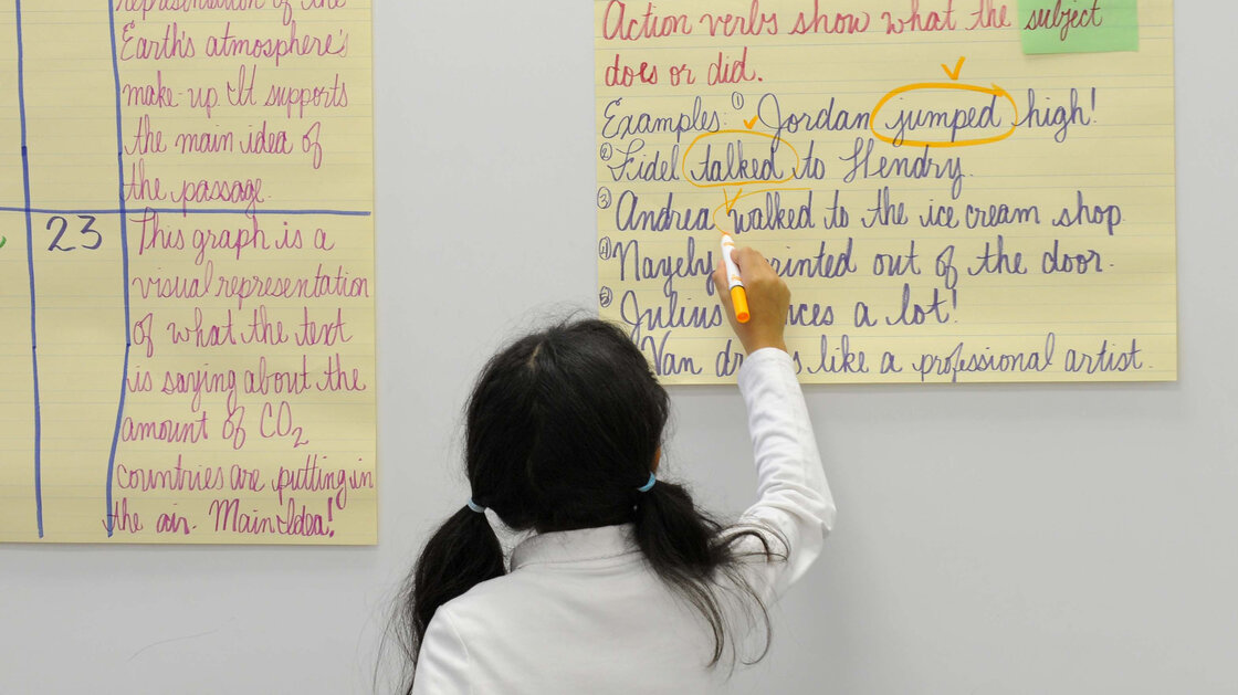 A fifth-grade student uses her cursive skills at a school in Baltimore. The Indiana Senate recently passed a bill that would restore instruction of cursive writing as an educational standard.