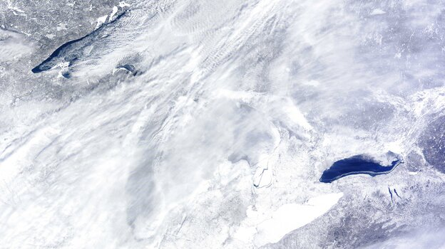 They're down there somewhere: The Great Lakes as seen from space on Wednesday