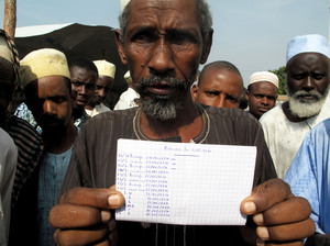 Saliou Iya holds a handwritten list of herds of cows he says that Christian militias killed. Muslims are the country's herders.