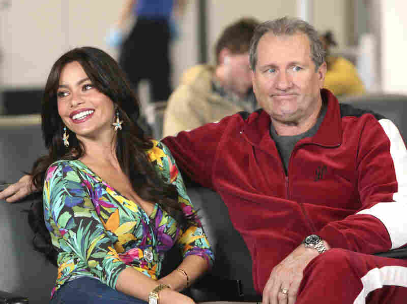 Sofia Vergara and Ed O'Neill play an interracial couple on ABC's Modern Family.