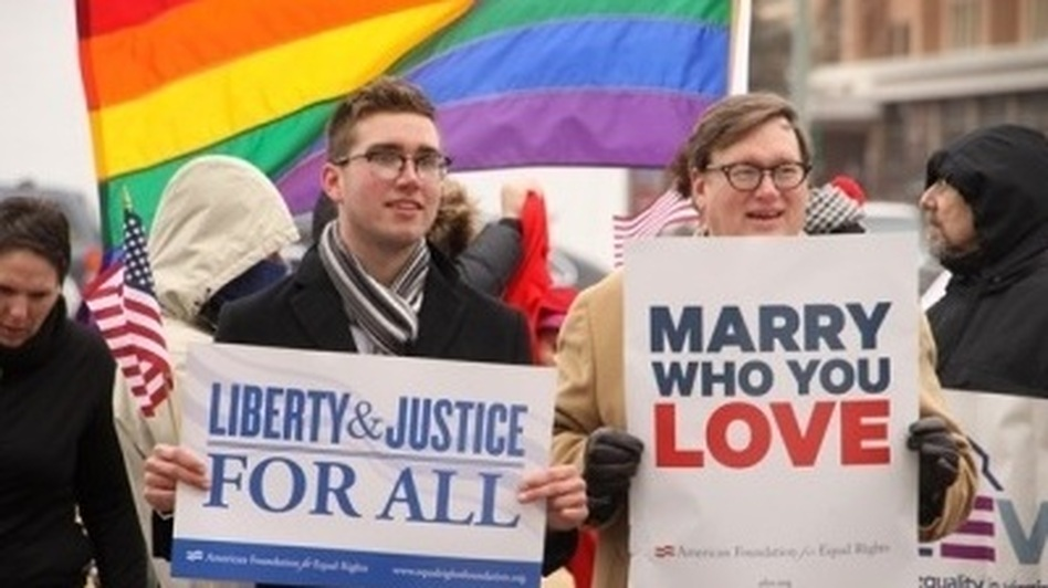 Supporters of same-sex marriage and opponents were out when the challenge to Virginia's law was heard in a Norfolk federal court earlier this month. (Getty Images)