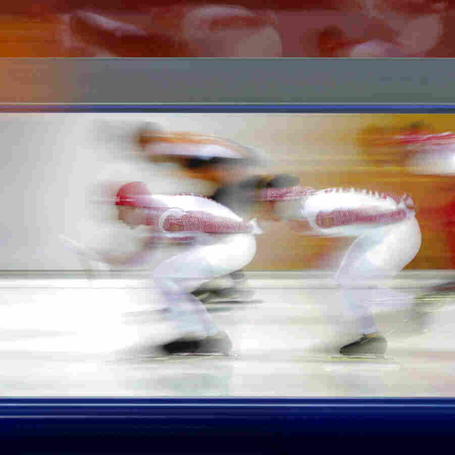 Speedskaters train Friday at the Adler Arena Skating Center at the 2014 Winter Olympics in Sochi.