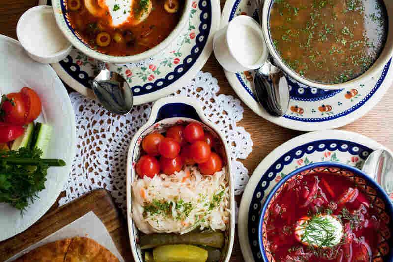 Traditional foods in Sochi may be Russian, Ukrainian, Georgian or from the surrounding   Krasnodar region. This table is set at Mari Vanna restaurant in Washington, D.C.