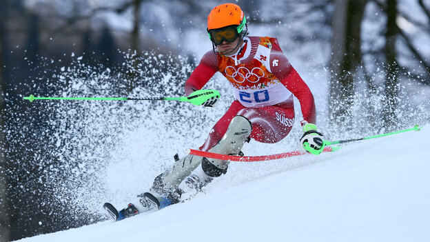 Switzerland's Sandro Viletta, skiing in the slalom portion of the men's super combined, took