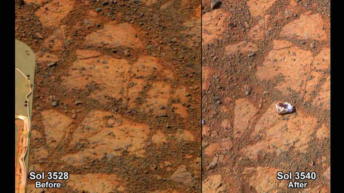 """This composite image provided by NASA shows before-and-after images taken by the Opportunity rover on Mars of a patch of ground taken on Dec. 26, 2013, showing the """"Pinnacle Island"""" rock."""