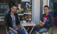 """In Greece a man must always be straight,"" says Petros Sapountzakis (right), a teacher who was attacked by ultranationalists after leaving a theater in 2012. He and his boyfriend, Alex Kantirov, have been together for five years."