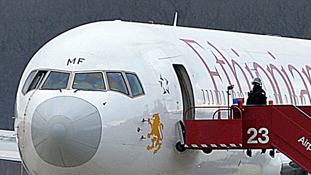 After landing in Geneva on Monday, the pilot who reportedly took over control of the Rome-bound Ethiopian Airlines jet used a rope to climb down from the cockpit. He then went to authorities and asked for asylum.