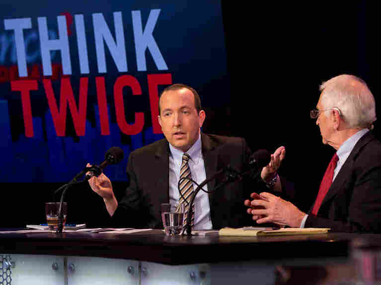 "Ben Wizner (left) and Daniel Ellsberg argue in favor of the motion ""Edward Snowden Was Justified"" in an Intelligence Squared U.S. debate on Feb. 12."