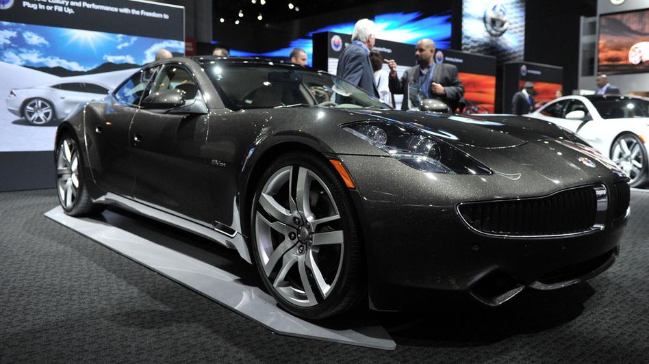The Karma sedan, a premium electric plug-in hybrid by Fisker Automotive, is seen at the New York International Auto Show on April 5, 2012. (Wang Lei/Xinhua /Landov)