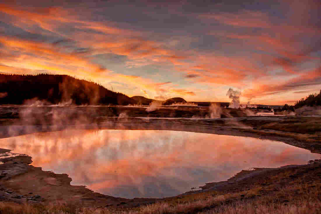 Sunset on the Firehole River, Yellowstone National Park.
