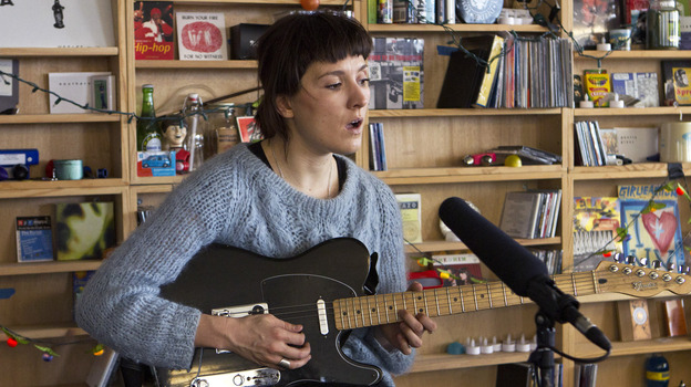Cate Le Bon performs a Tiny Desk Concert in January 2014. (Meredith Rizzo/NPR)