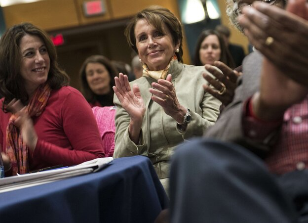 House Minority Leader Nancy Pelosi, D-Calif., at the House Democrats' recen