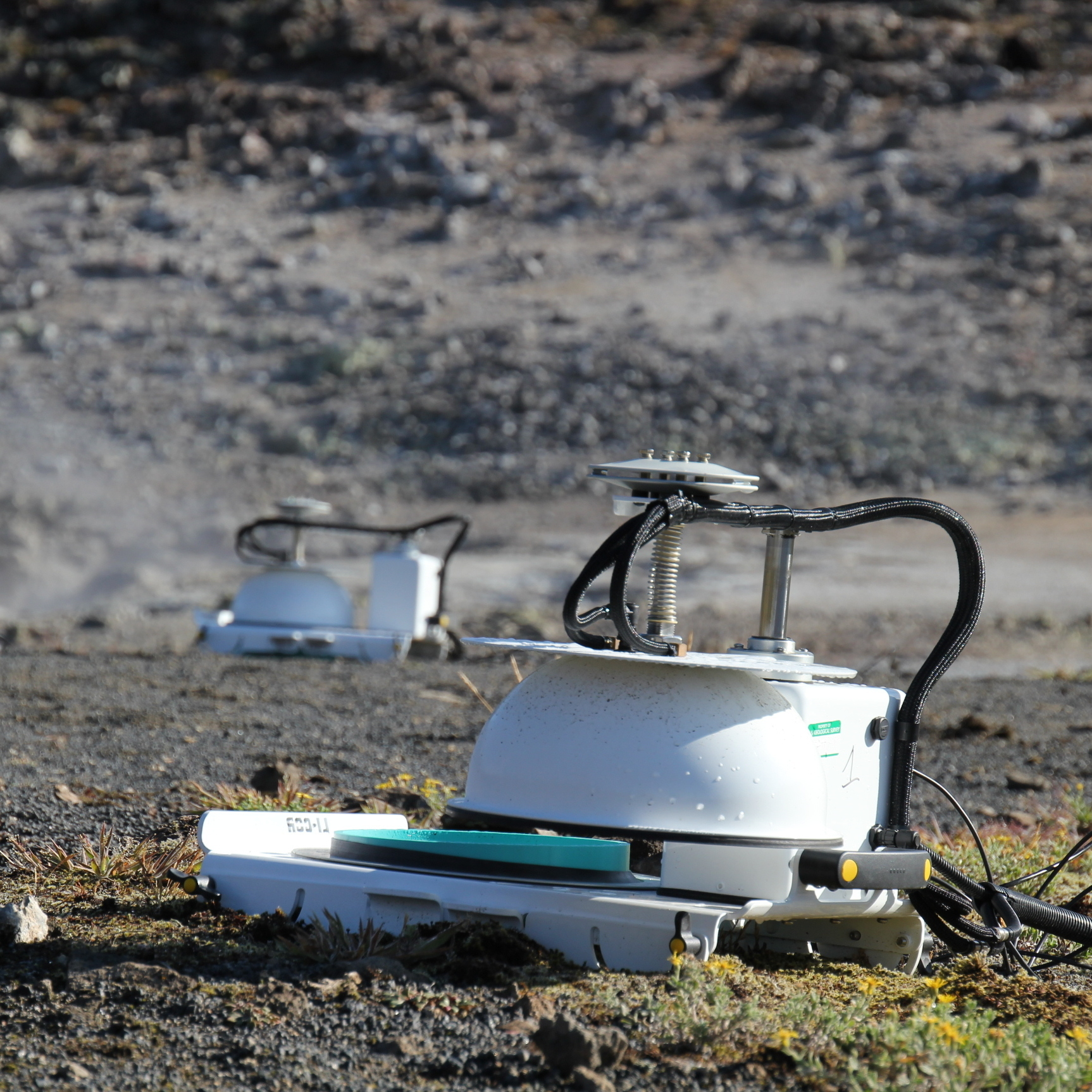 Automated accumulation chambers permit estimation of the diffuse flux of carbon dioxide through soils at the Solfatara Plateau Thermal Area, Yellowstone National Park.