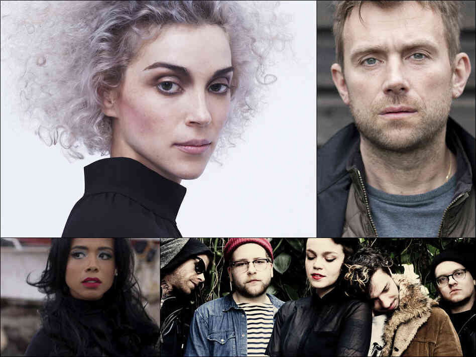 Clockwise from upper left: St. Vincent, Damon Albarn, Perfect Pussy and Kelis.
