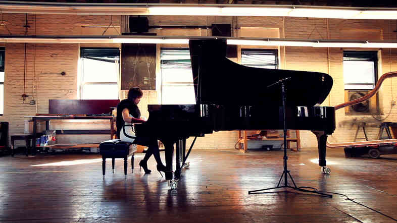 Pianist Yuja Wang playing Prokofiev's Toccata, Op. 11 at the Steinway and Sons factory in Queens, New York.