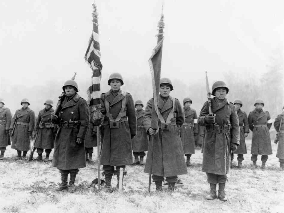 The 442nd Regimental Combat Team, shown here in a 1944 photo taken in France, returned home from World War II as one of the most decorated U.S. military units.
