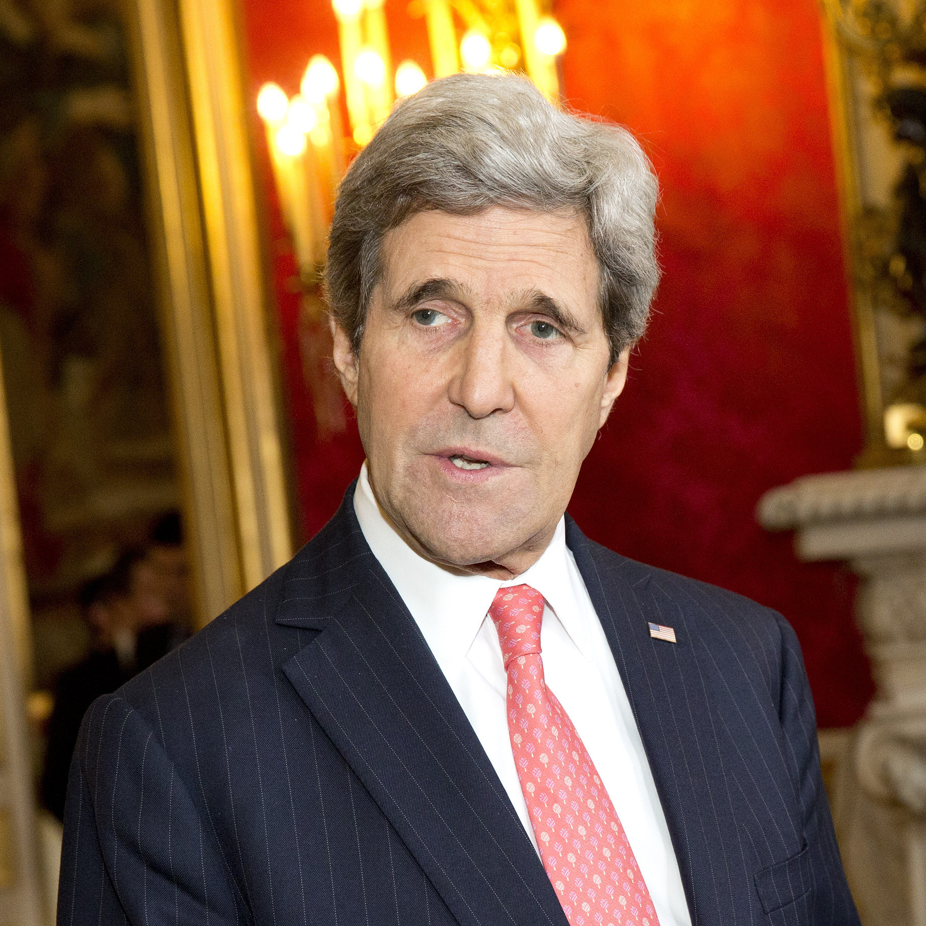 U.S. Secretary of State John Kerry, left, reiterated his hope for negotiations between the government and protesters during a statement on the violence in Ukraine before a meeting with French Foreign Minister Laurent Fabius on Wednesday in Paris.