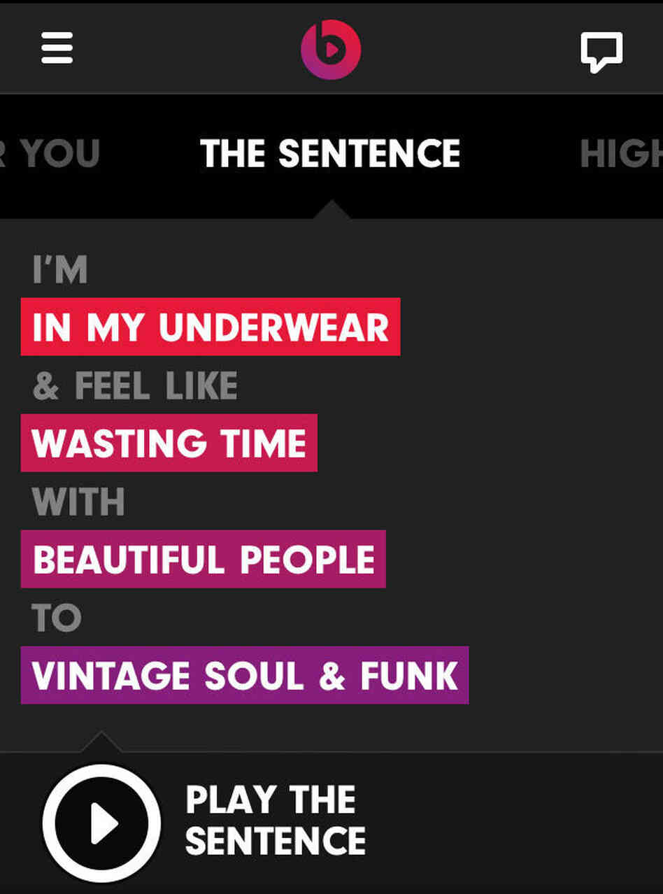 """One of Beats Music's playlist-making functions is called """"The Sentence."""""""