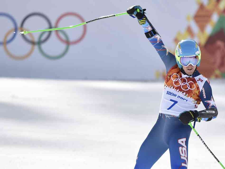 Ted Ligety of Team USA celebrates Wednesday after winning the men's giant slalom event at the Sochi Winter Games.