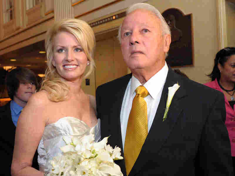 Former Louisiana Gov. Edwin Edwards and his new wife, Trina Grimes Scott, after getting married in the French Quarter in New Orleans, La., in July 2011.