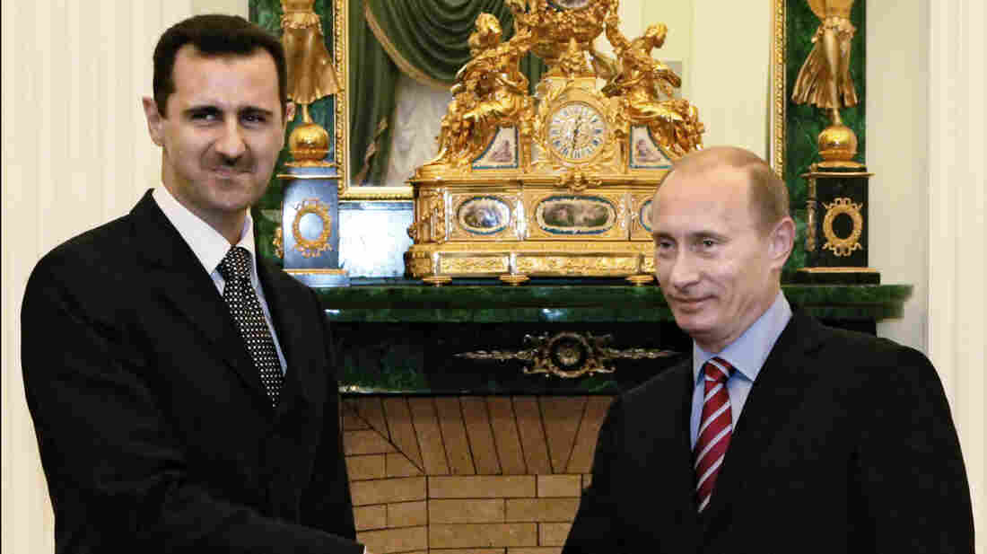 Putin greets his Syrian counterpart, Bashar Assad, in Moscow on Dec. 19, 2006. Russia has remained a steadfast ally of Assad despite three years of civil war and Western calls for Assad's ouster.