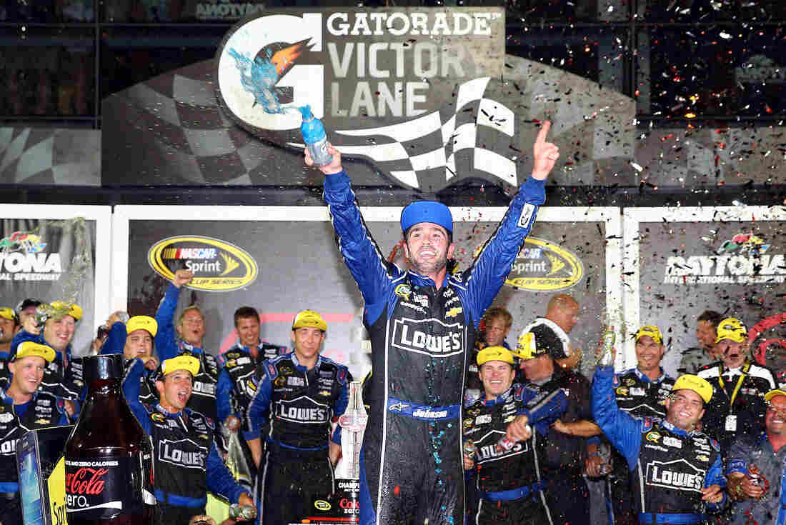 Jimmie Johnson, celebrating a win in July, is a six-time NASCAR Sprint Cup Series champ. He says the playoff changes should still result in a top driver taking the title.