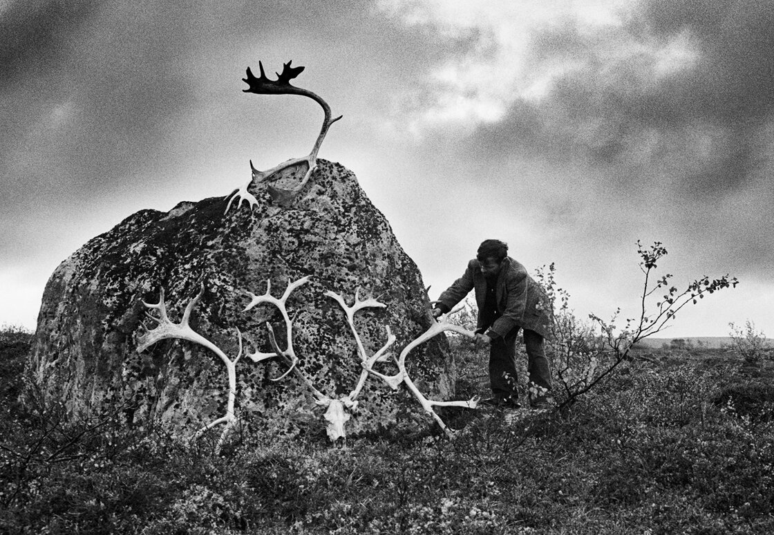 A man places reindeer antlers on a shrine in the Murmansk region, a peninsula in the Arctic north of St. Petersburg where he and others keep herds of reindeer.
