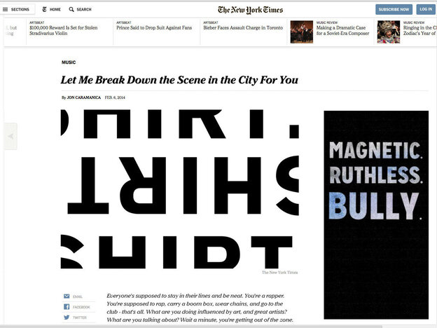 The rapper Shirt created a counterfeit article designed to look like it was written by the New York Times critic Jon Caramanica and published on the Times' website.