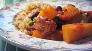 While traditional cholents feature meat and beans cooked for a whole day, some modern versions, like this one, use vegetable protein and a quick braise.