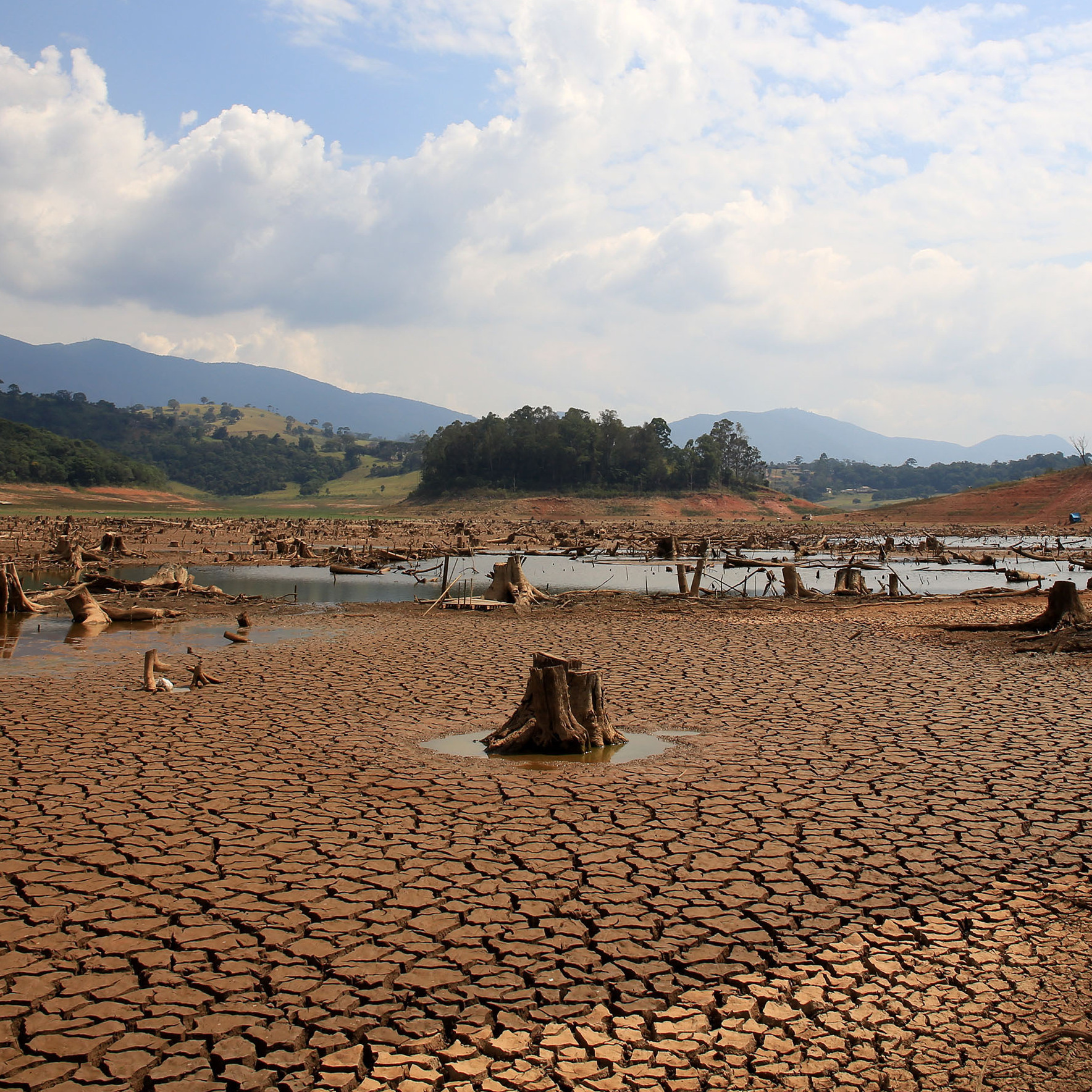A view of drought-stricken Rio Jacarei in southeastern Brazil, where water levels were at the lowest level since 1974.