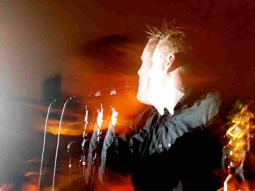 Deafheaven's George Clarke on stage at Empire in Springfield, Va.
