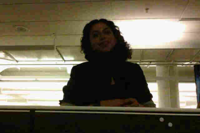The Narrative Clip caught many images of co-workers talking with us. Here's NPR's Kainaz Amaria when she stopped by for a chat.