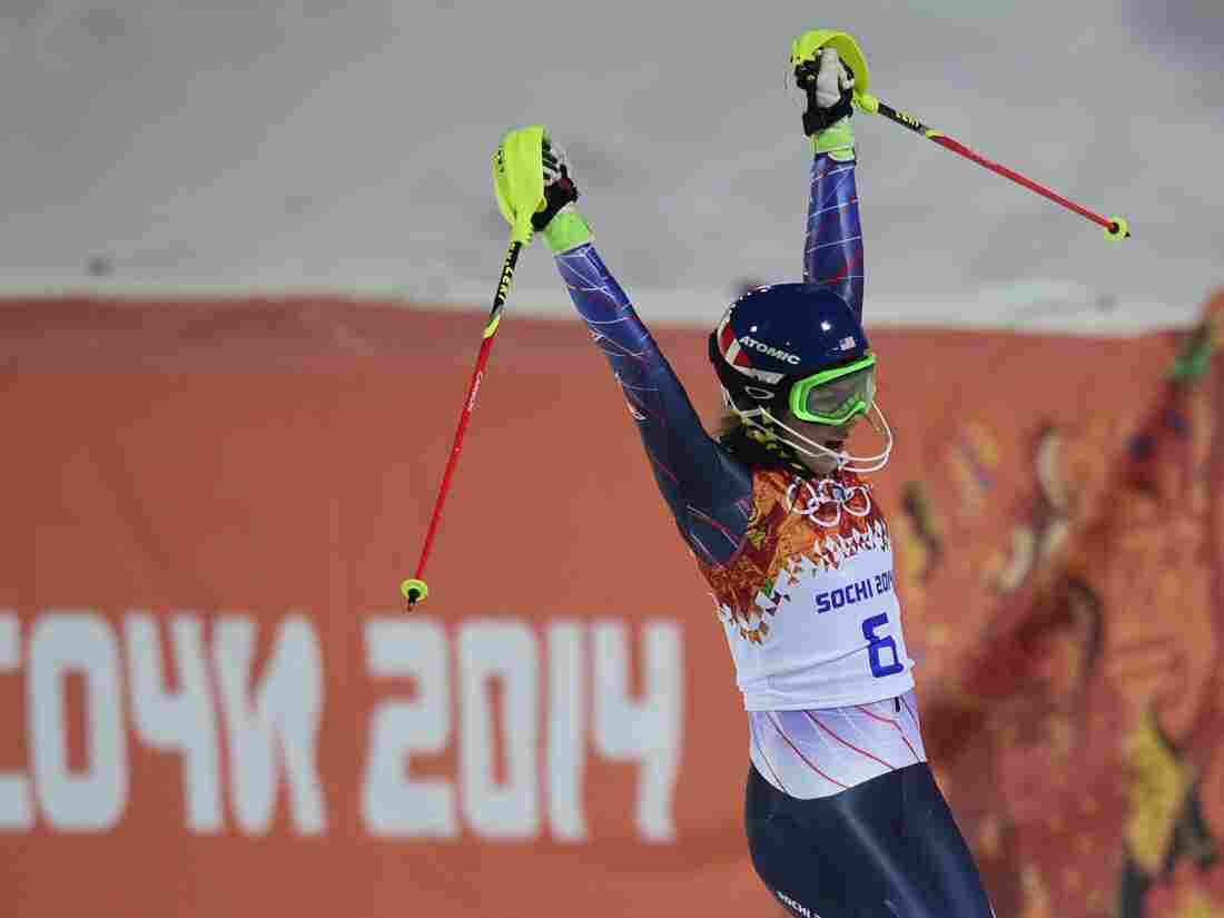 She's a winner: Team USA's Mikaela Shiffrin celebrates after taking gold in the women's slalom at the Sochi Games.