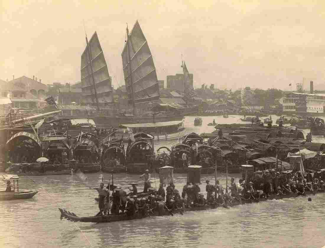 A photograph of the Pearl River in Canton or Guangzhou, China, taken around 1870-1880.