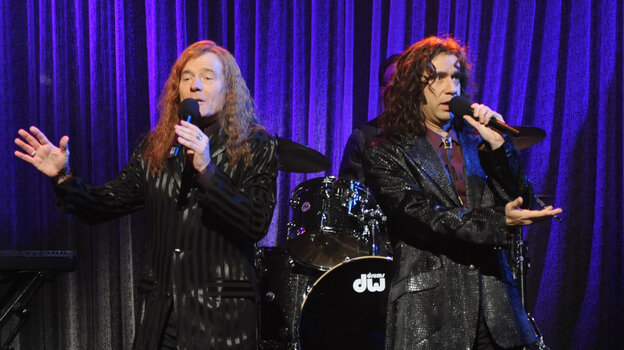 Bryan Cranston and Fred Armisen in character as The Bjelland Brothers, a sibling soft rock duo dreamed up by Armisen for a 2010 sketch on Saturday Night Live.