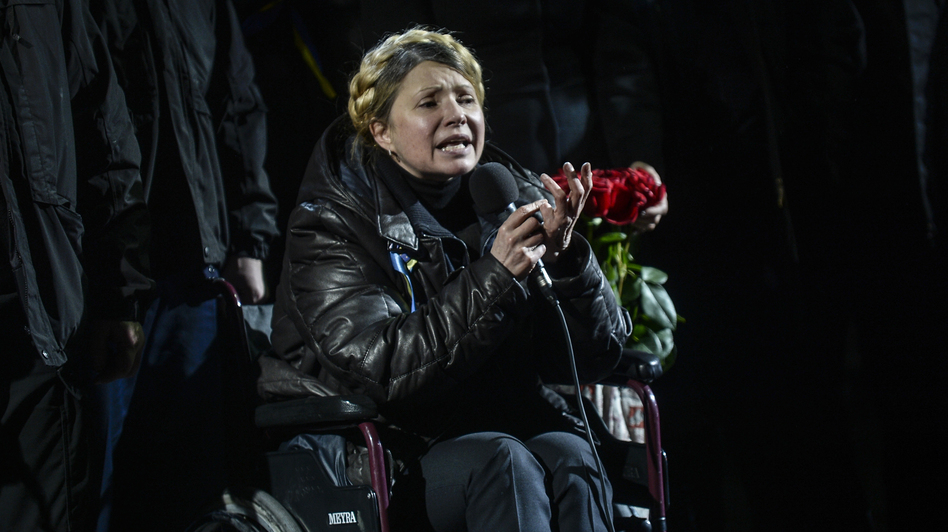 Newly freed Ukrainian opposition icon Yulia Tymoshenko speaks at Independence Square on Saturday in Kiev. (AFP/Getty Images)