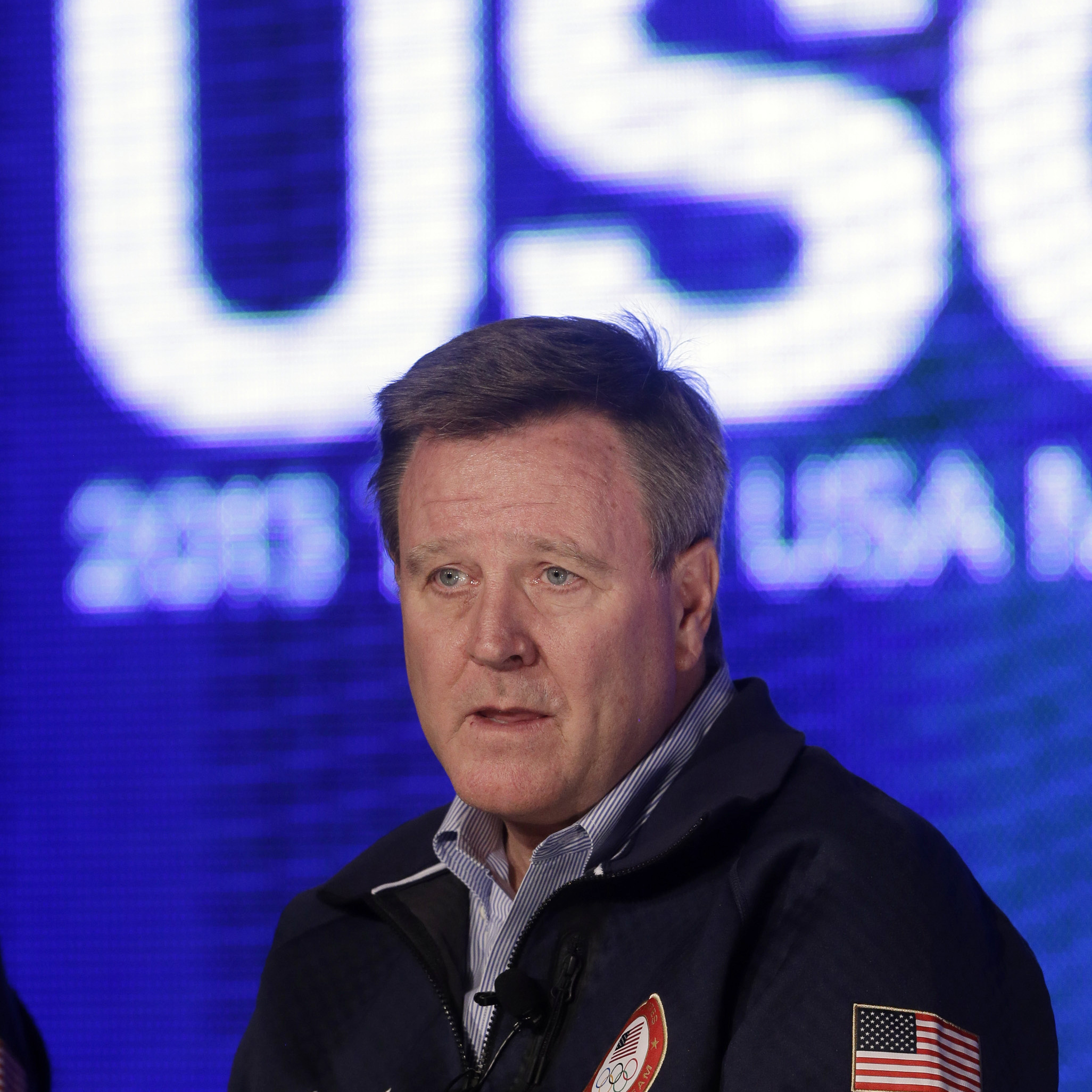Scott Blackmun, CEO of the U.S. Olympic Committee, speaks with reporters last year in Park City, Utah.
