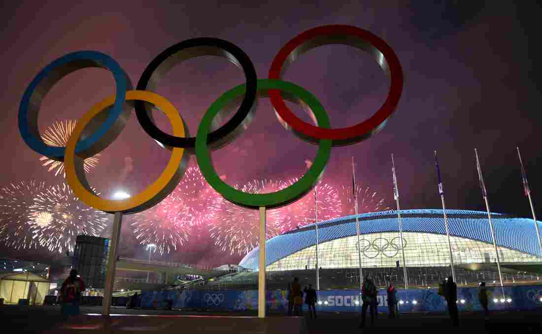 Fireworks explode around the Fisht Olympic Stadium at the end of the Closing Ceremony of the Sochi Winter Olympics on Sunday at the Olympic Park in Sochi.